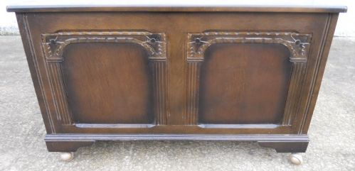 Antique Jacobean Style Dark Wood, Carved Blanket Chest - SOLD